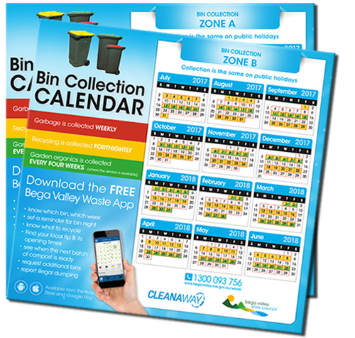 Image of the Bega Valley Shire Council Bin Collectin Calendars.
