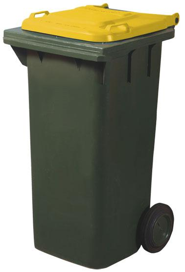 Yellow lid bin for recycling.