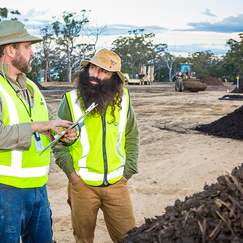 Costa Georgiadis (right) talks organic waste with Bega Valley Shire Council's Mick Jarochowicz during a visit to the Merimbula Waste and Recycling Depot.