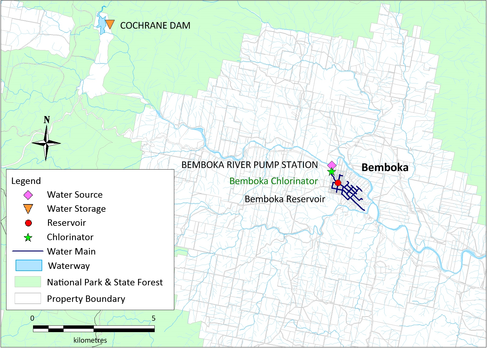 A map of the Bemboka water supply system