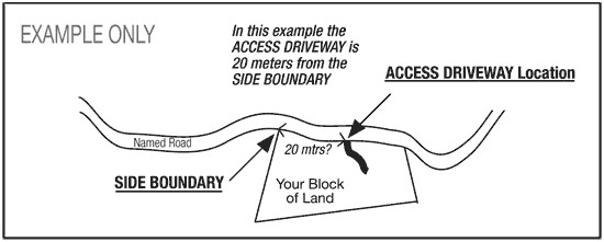 Image of example of how to messure distance from boundary to the middle of the access driveway. Click to view larger image.